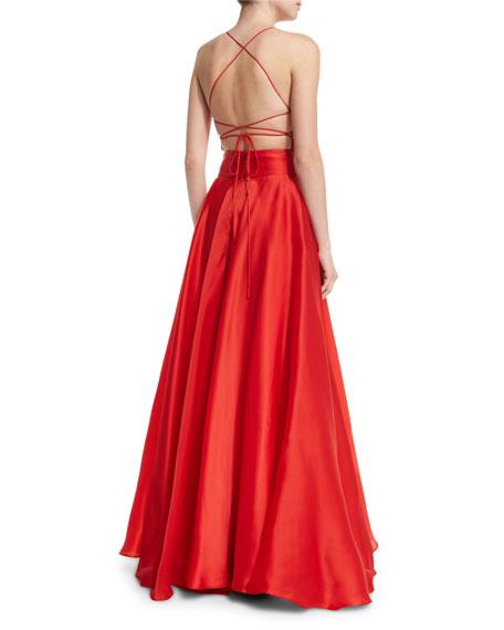 Sleeveless Crisscross-Bodice Organza Ball Gown
