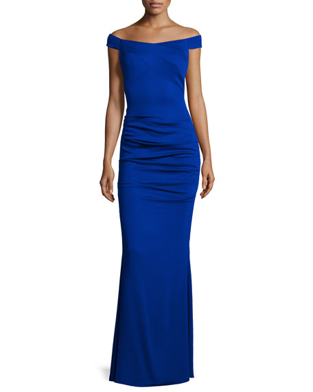 Nicole Miller Off-The-Shoulder Column Gown, Royal Navy