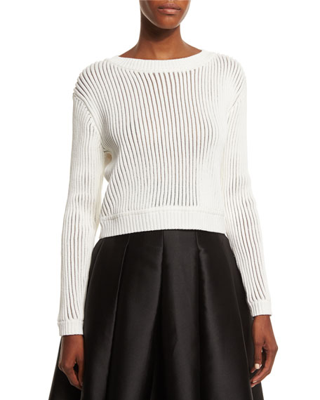 Sachin & Babi Long-Sleeve Ribbed Sweater, Ivory