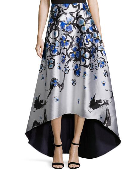 Sachin & Babi Noir Floral-Print High-Low Ball Skirt