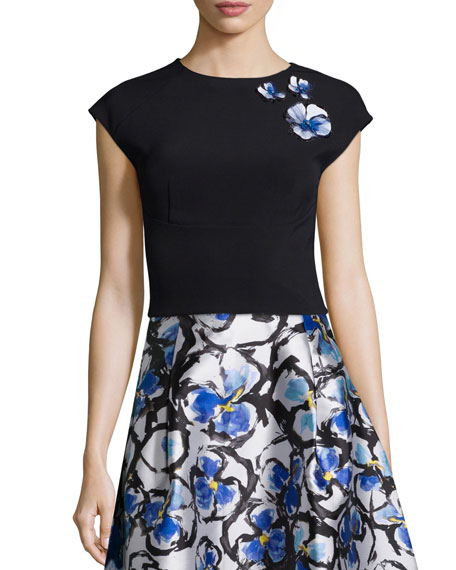 Sachin & Babi Noir Cap-Sleeve Top with Floral