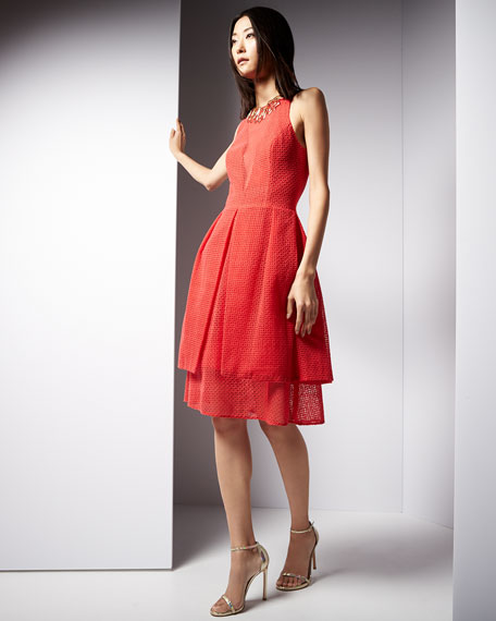 Sleeveless Eyelet-Overlay Sheath Dress, Flame