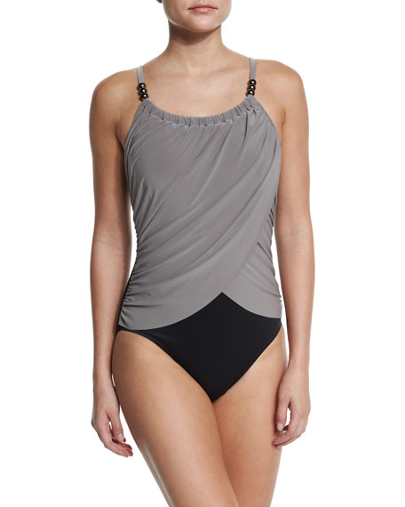 Magicsuit Lisa Draped-Front Underwire One-Piece Swimsuit, Taupe