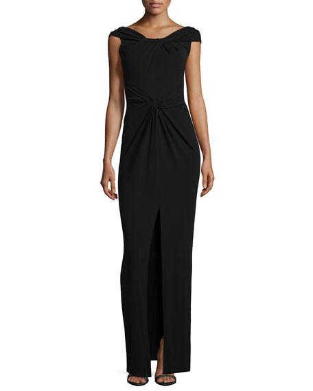 Michael Kors Collection Cap-Sleeve Twist-Front Gown, Black