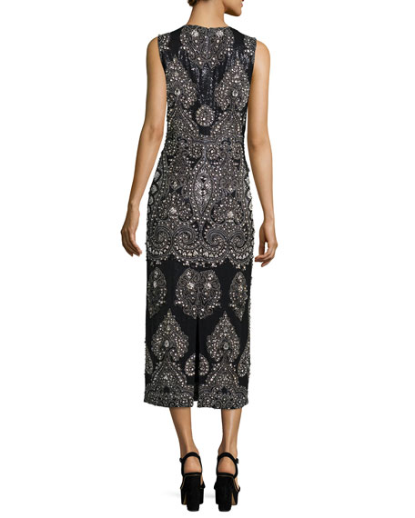 Sleeveless Embellished Column Gown, Black/Slate