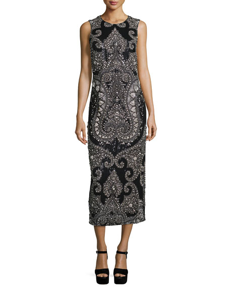 Michael Kors Collection Sleeveless Embellished Column Gown,