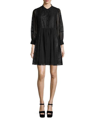 Rock Lace-Inset Shirtdress, Black