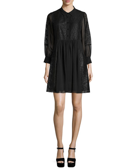 Rebecca Minkoff Rock Lace-Inset Shirtdress, Black