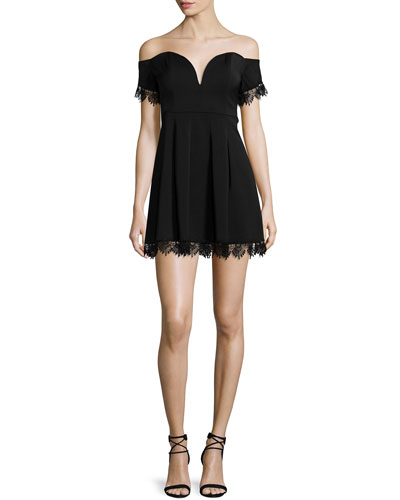 Heaven Sent Off-The-Shoulder Dress, Black
