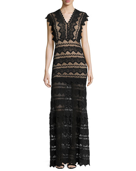 Nightcap Clothing Antoinette V-Neck Lace Gown, Black/Nude