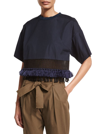 3.1 Phillip Lim Boxy Cropped Cotton Tee, Obsidian