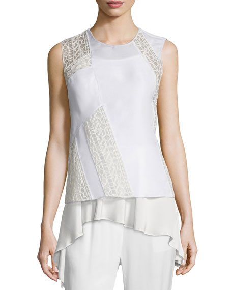 3.1 Phillip Lim Silk Paneled Cross-Back Tank &
