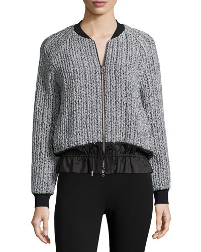 Knit Zip-Front Bomber Jacket, Platinum