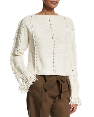 Cropped Fringe-Trim Pullover Sweater, Ivory