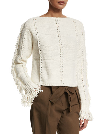 3.1 Phillip Lim Cropped Fringe-Trim Pullover Sweater, Ivory