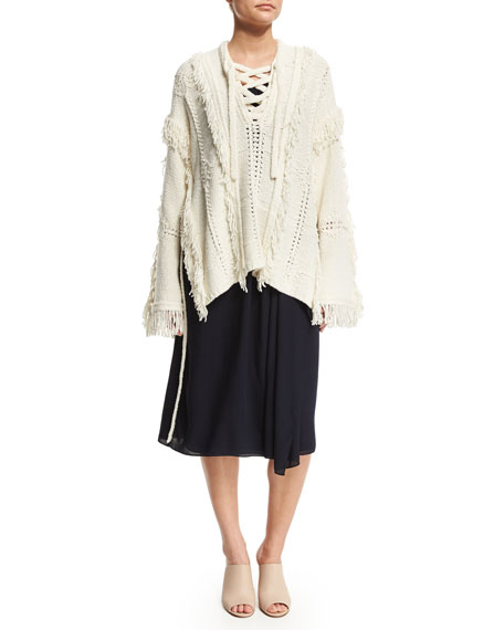 3.1 Phillip Lim Lace-Up Fringe Wool-Blend Poncho, Ivory