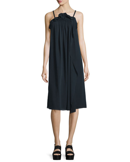 3.1 Phillip Lim Silk Picot-Trim Shift Dress, Phantom