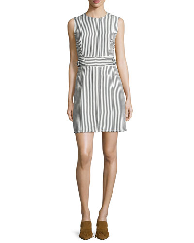 3.1 Phillip Lim Structured Striped A-Line Dress, Navy/Ivory