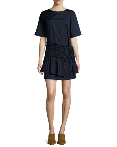 Smocked T-Shirt Dress, Obsidian