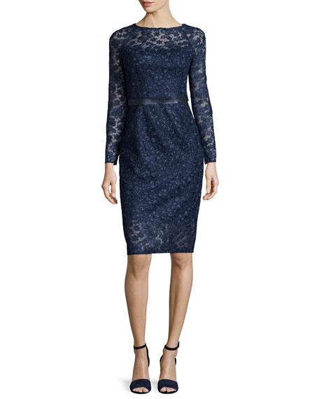 ML Monique LhuillierLong-Sleeve Lace Cocktail Dress