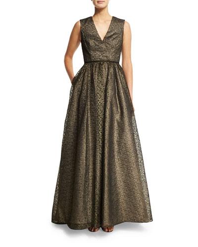 Sleeveless Metallic Lace Ball Gown