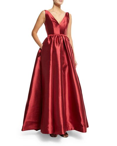 Sleeveless Deep V-Neck Ball Gown