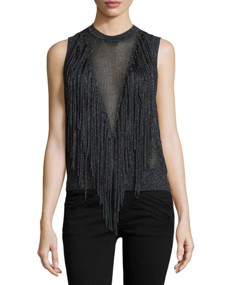 Ronny Kobo Ronja Sleeveless Sweater W/Fringe, Black