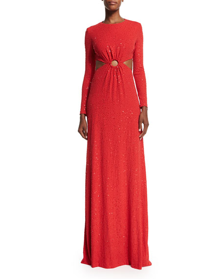 Michael Kors Long-Sleeve Embellished Gown W/Cutouts, Scarlet