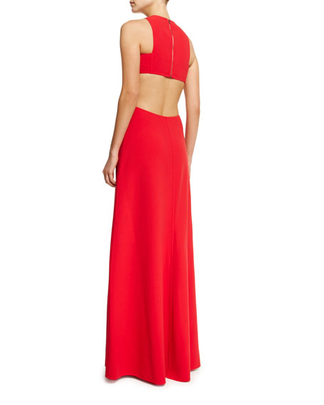 Sleeveless Cutout Gown, Scarlet