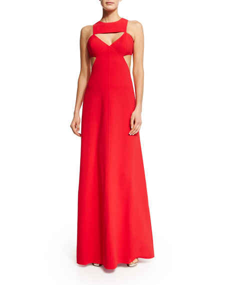 Michael Kors Sleeveless Cutout Gown, Scarlet