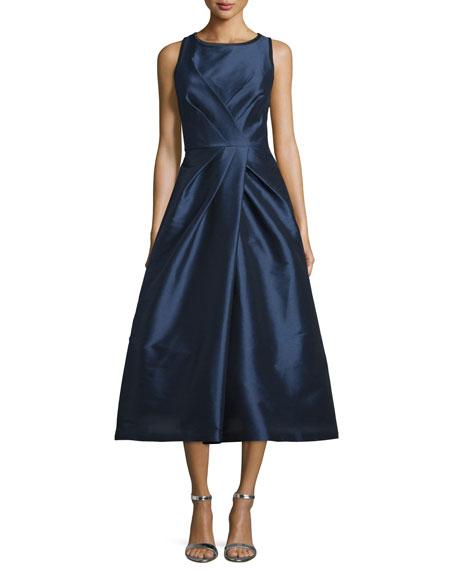 ML Monique Lhuillier Sleeveless Crisscross Pleated Gown
