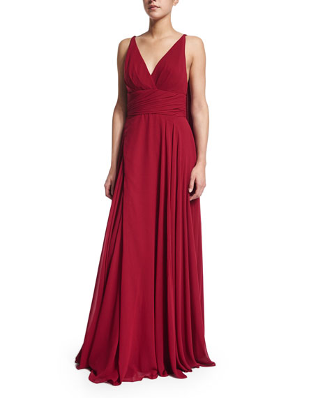ML Monique Lhuillier Sleeveless Draped-Back Pleated Gown