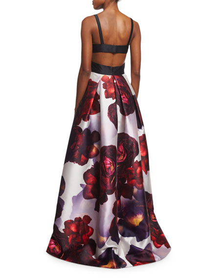 Sleeveless Floral Combo Ball Gown
