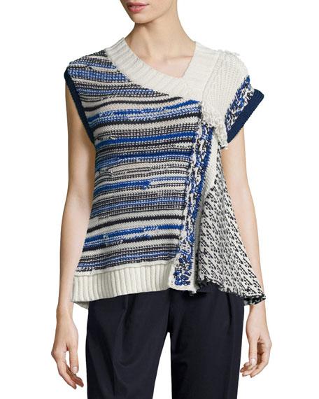 3.1 Phillip Lim Draped Wool-Blend Top, Ivory/Blue
