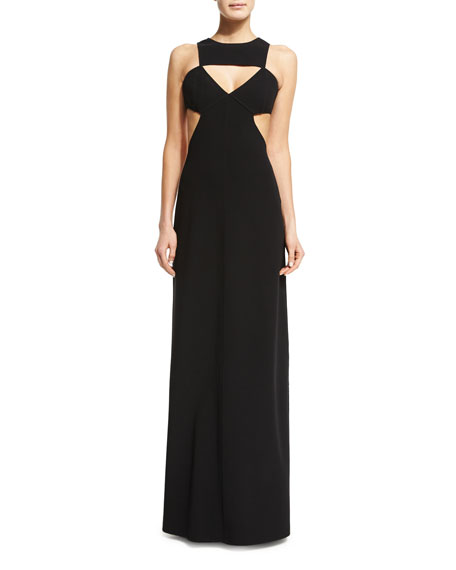 Michael Kors Sleeveless Cutout Gown, Black