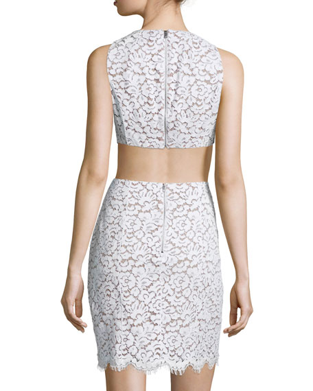Lace Mini Dress W/Cutouts, White