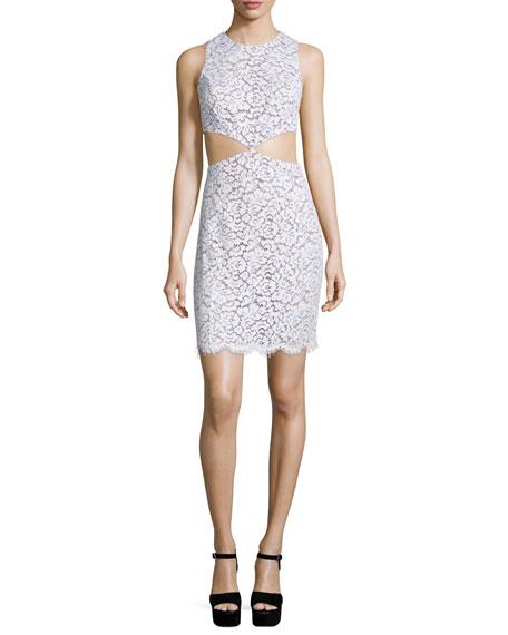 Michael Kors Lace Mini Dress W/Cutouts, White