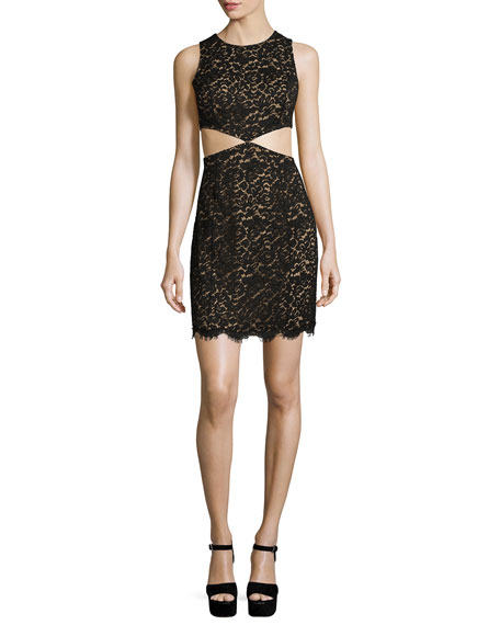Michael Kors Collection Lace Mini Dress W/Cutouts, Black