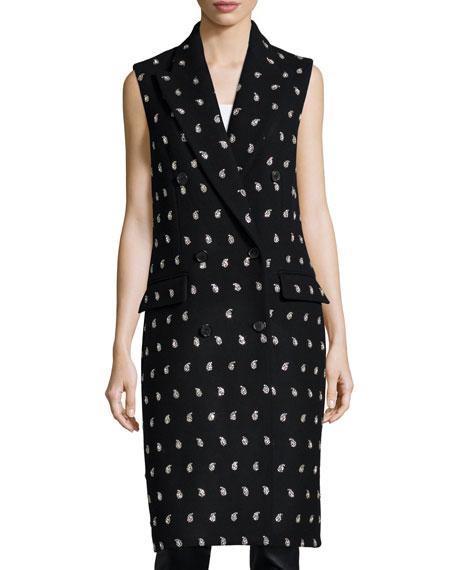 Embellished-Paisley Sleeveless Coat, Black