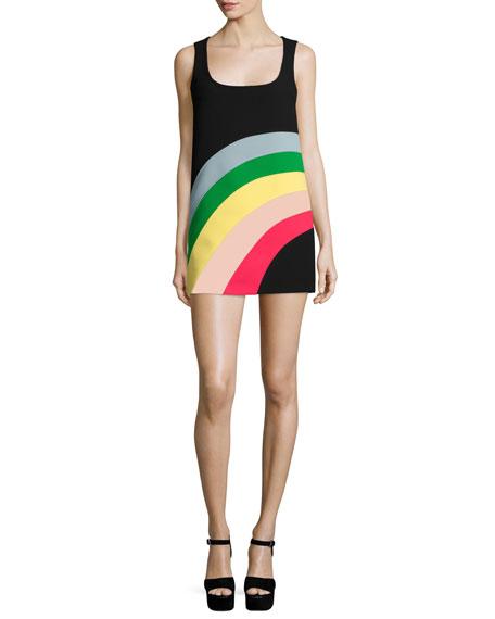 RED Valentino Sleeveless Rainbow Shift Dress
