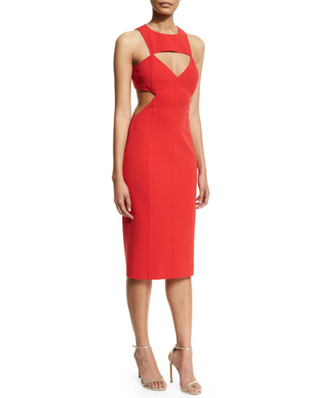 Sleeveless Cutout Sheath Dress, Scarlet