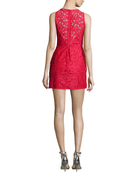 Sleeveless Tiered-Peplum Lace Dress, Burnt Red