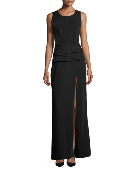 BCBGMAXAZRIA Sleeveless Peplum A-line Gown