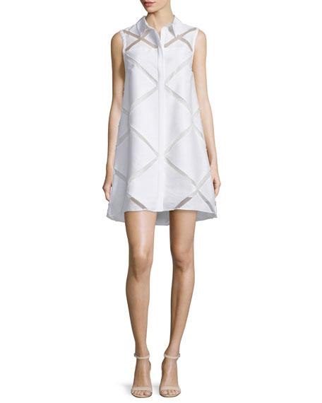 Milly Sleeveless Diamond Fil Coupe Shirtdress, White