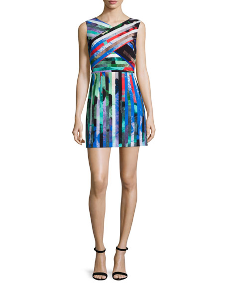 Allison Mirage-Striped Mini Dress, Multi Colors