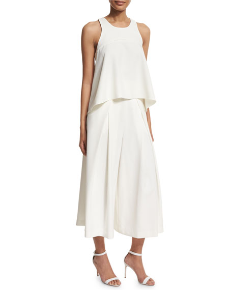 Pleated-Front Italian Culottes, White