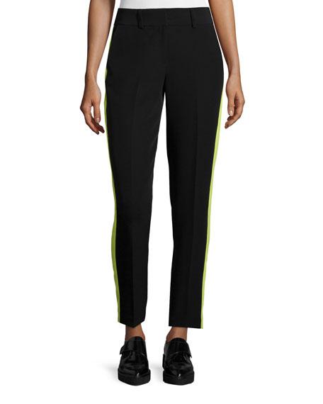 Milly Slim-Leg Tuxedo Trousers W/Contrast Stripe, Black/Citron
