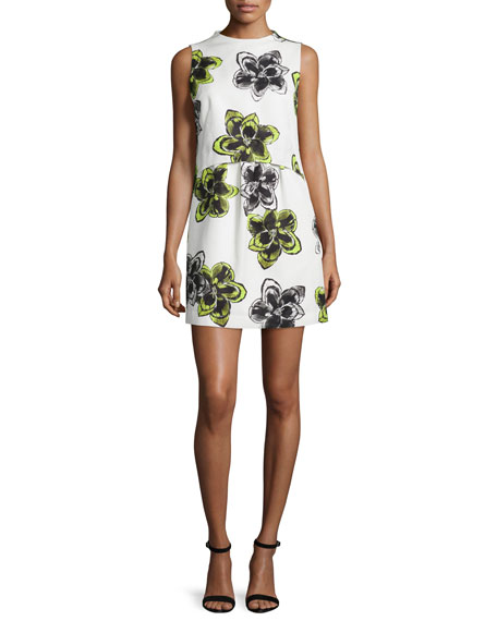 Milly Astrid Magnolia-Print Dress, Citron