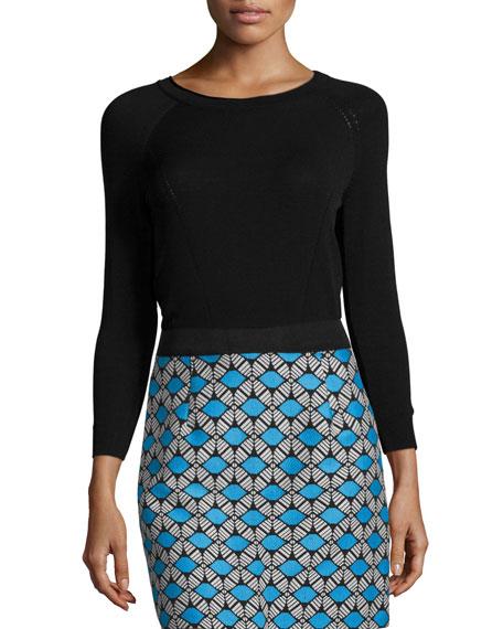 Milly Round-Neck Raglan-Sleeve Pullover, Black