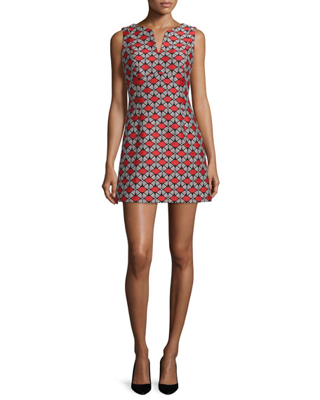 Milly Sleeveless Geometric-Print Sheath Dress, Poppy
